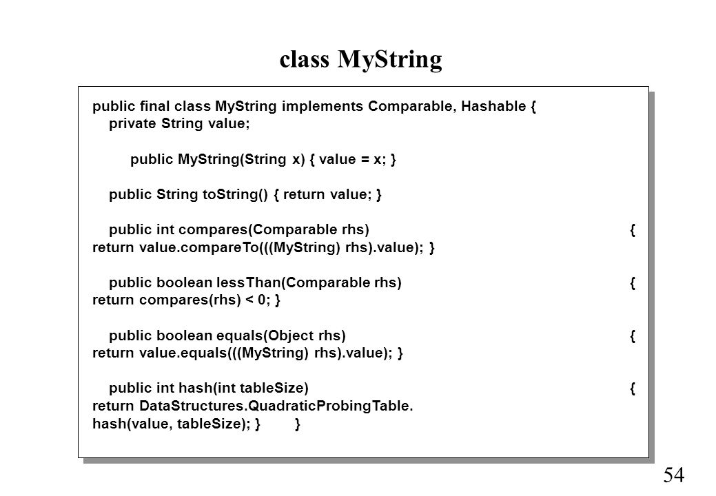 54 class MyString public final class MyString implements Comparable, Hashable { private String value; public MyString(String x) { value = x; } public String toString() { return value; } public int compares(Comparable rhs) { return value.compareTo(((MyString) rhs).value); } public boolean lessThan(Comparable rhs) { return compares(rhs) < 0; } public boolean equals(Object rhs) { return value.equals(((MyString) rhs).value); } public int hash(int tableSize) { return DataStructures.QuadraticProbingTable.
