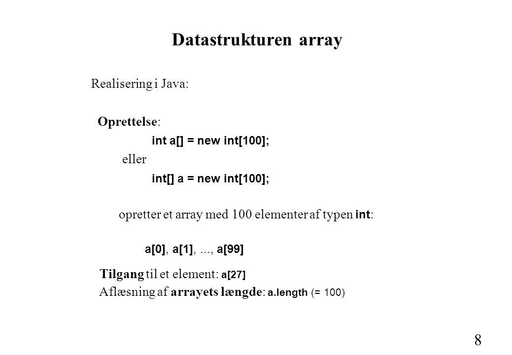 8 Datastrukturen array Realisering i Java: Oprettelse: int a[] = new int[100]; eller int[] a = new int[100]; opretter et array med 100 elementer af typen int : a[0], a[1],..., a[99] Tilgang til et element: a[27] Aflæsning af arrayets længde: a.length (= 100)