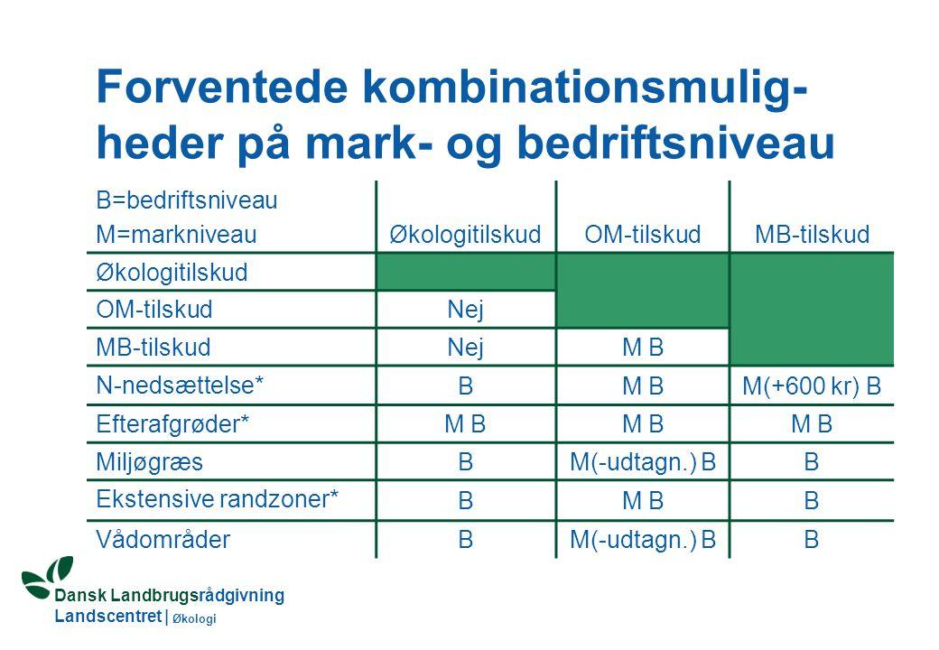 Dansk Landbrugsrådgivning Landscentret | Økologi MB-tilskud kan kombineres med andre MVJ-ordninger på arealer i SFL-områder Økologer får fuld adgang til alle MVJ-ordninger Tilskuddet kan være højere end MB-tilskud Særlige krav til udnyttelse Tæller ikke med i harmoniareal, hvis arealet ikke må gødes Ordningerne administreres forskelligt i amterne Ansøgningsperiode evt.