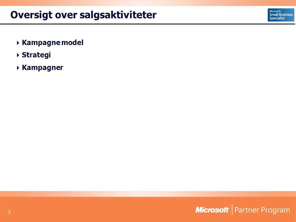 2 Oversigt over salgsaktiviteter  Kampagne model  Strategi  Kampagner