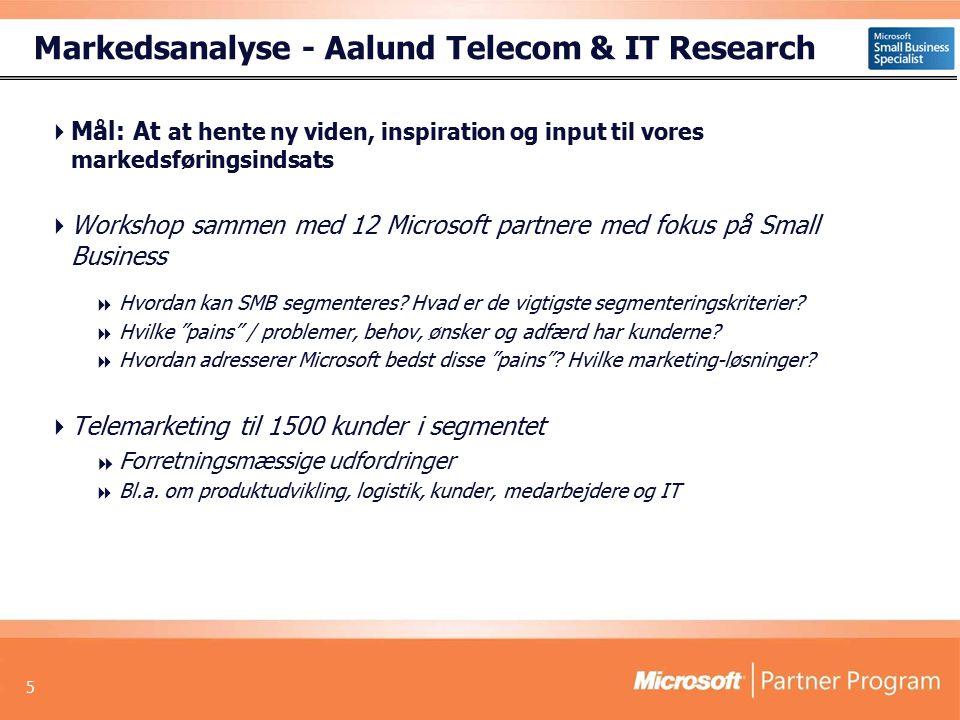 5 Markedsanalyse - Aalund Telecom & IT Research  Mål: At at hente ny viden, inspiration og input til vores markedsføringsindsats  Workshop sammen med 12 Microsoft partnere med fokus på Small Business  Hvordan kan SMB segmenteres.