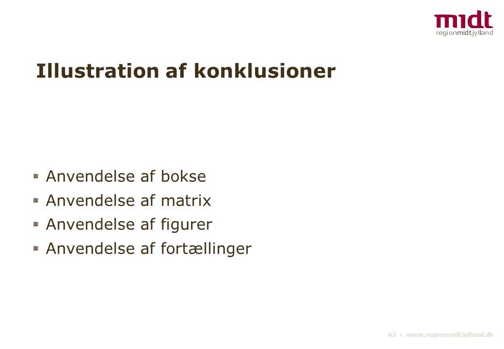 43 ▪ www.regionmidtjylland.dk Illustration af konklusioner  Anvendelse af bokse  Anvendelse af matrix  Anvendelse af figurer  Anvendelse af fortællinger