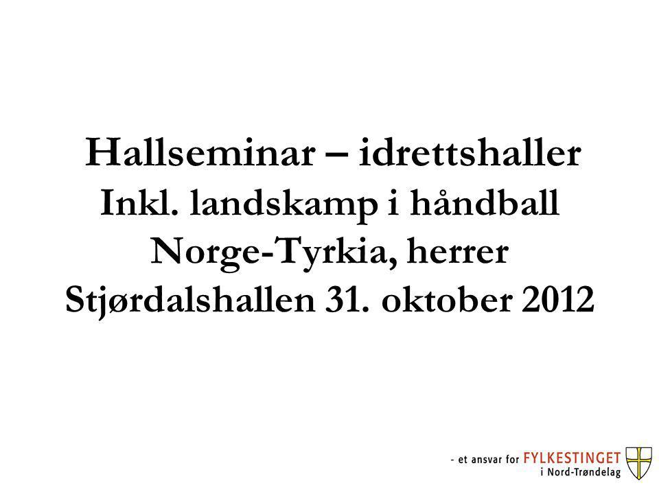 Hallseminar – idrettshaller Inkl. landskamp i håndball Norge-Tyrkia, herrer Stjørdalshallen 31.