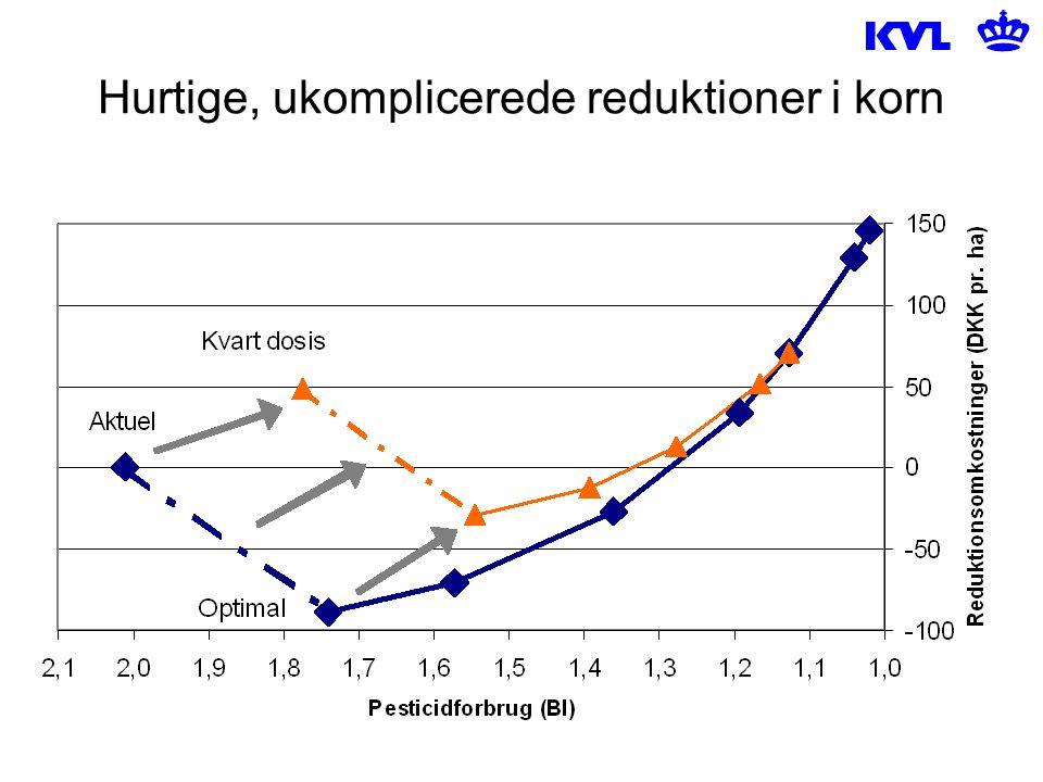 Hurtige, ukomplicerede reduktioner i korn