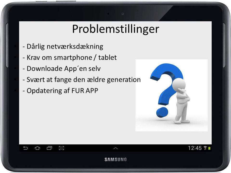 Problemstillinger - Dårlig netværksdækning - Krav om smartphone / tablet - Downloade App´en selv - Svært at fange den ældre generation - Opdatering af FUR APP