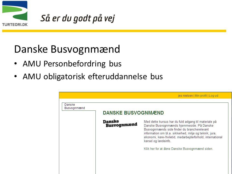 Danske Busvognmænd AMU Personbefordring bus AMU obligatorisk efteruddannelse bus