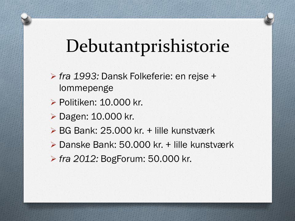 Debutantprishistorie  fra 1993: Dansk Folkeferie: en rejse + lommepenge  Politiken: 10.000 kr.