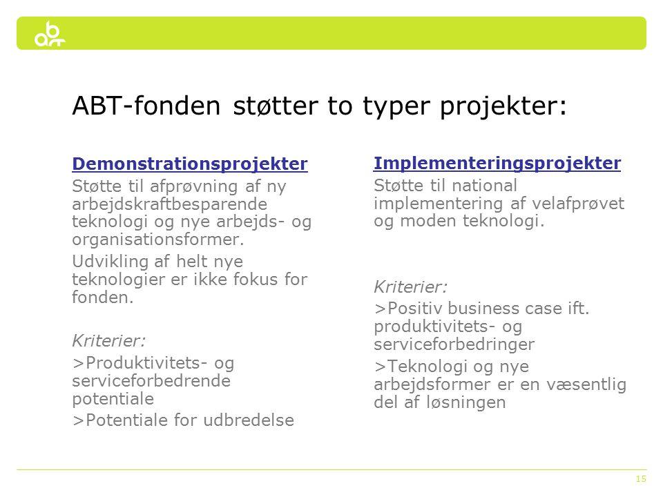 15 ABT-fonden støtter to typer projekter: Implementeringsprojekter Støtte til national implementering af velafprøvet og moden teknologi.