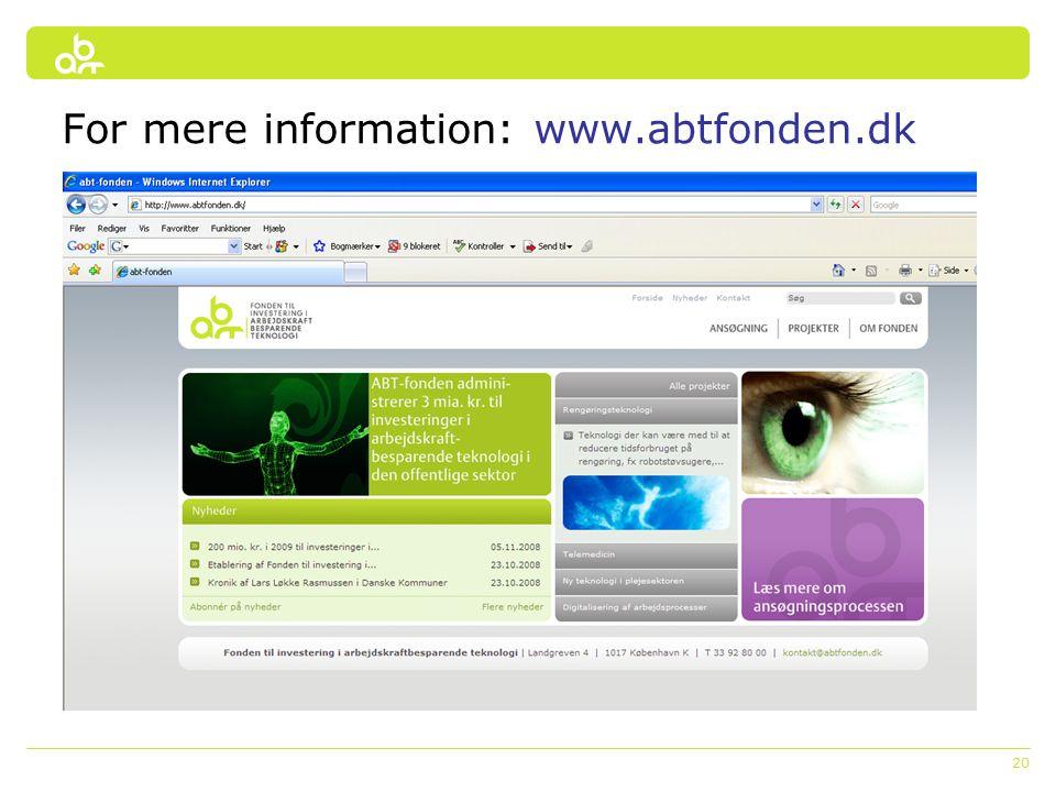 20 For mere information: www.abtfonden.dk