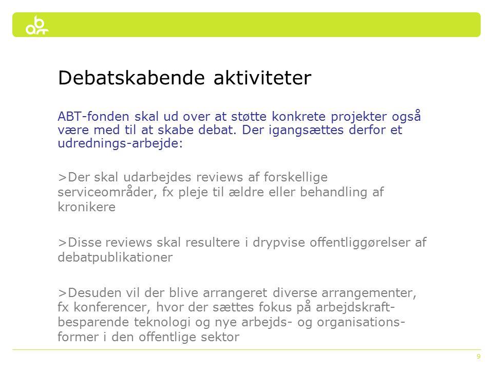 9 Debatskabende aktiviteter ABT-fonden skal ud over at støtte konkrete projekter også være med til at skabe debat.