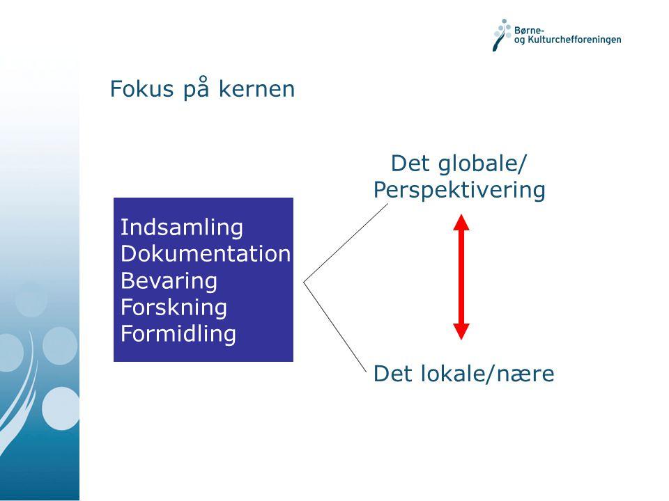 Fokus på kernen Indsamling Dokumentation Bevaring Forskning Formidling Det lokale/nære Det globale/ Perspektivering