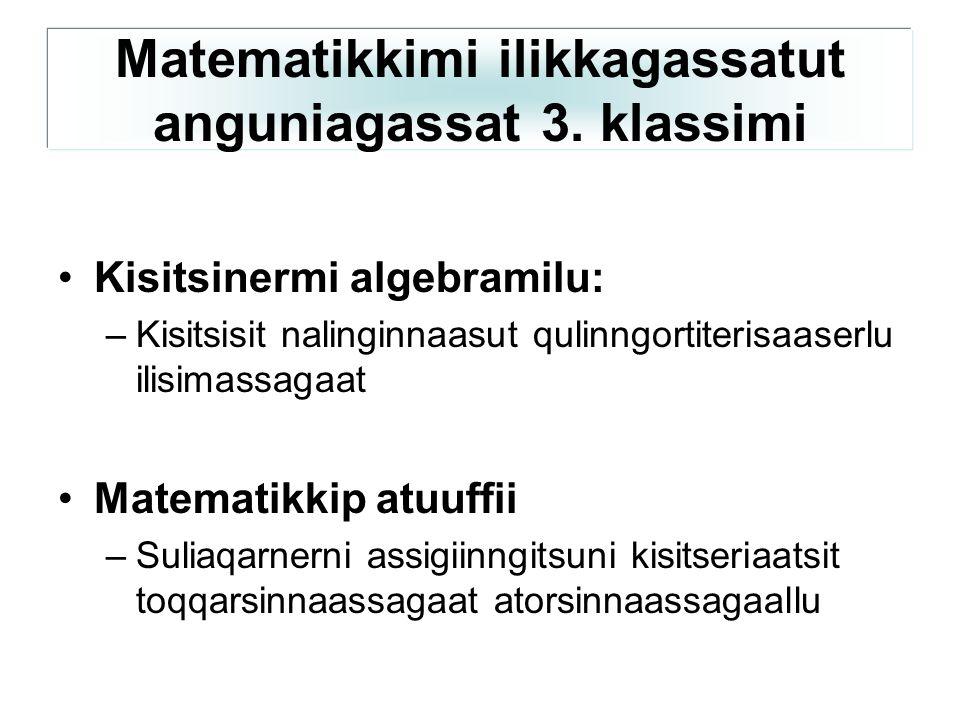 Kisitsinermi algebramilu: –Kisitsisit nalinginnaasut qulinngortiterisaaserlu ilisimassagaat Matematikkip atuuffii –Suliaqarnerni assigiinngitsuni kisitseriaatsit toqqarsinnaassagaat atorsinnaassagaallu