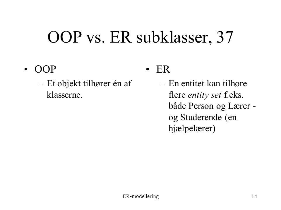 ER-modellering14 OOP vs. ER subklasser, 37 OOP –Et objekt tilhører én af klasserne.