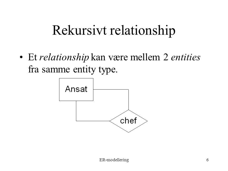 ER-modellering6 Rekursivt relationship Et relationship kan være mellem 2 entities fra samme entity type.