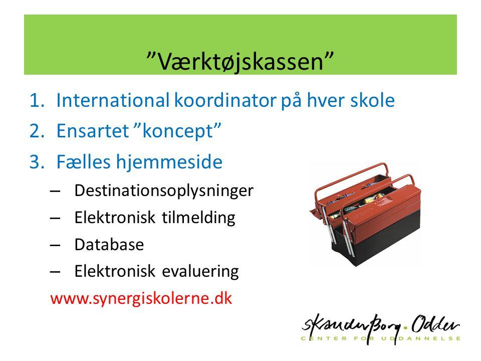 Værktøjskassen 1.International koordinator på hver skole 2.Ensartet koncept 3.Fælles hjemmeside – Destinationsoplysninger – Elektronisk tilmelding – Database – Elektronisk evaluering www.synergiskolerne.dk