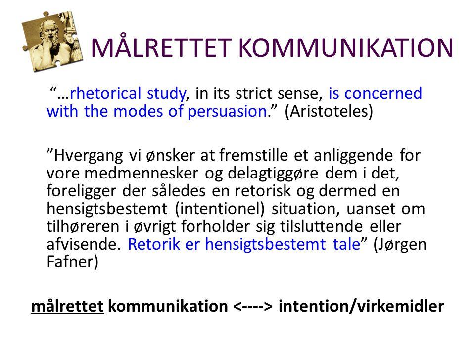 …rhetorical study, in its strict sense, is concerned with the modes of persuasion. (Aristoteles) Hvergang vi ønsker at fremstille et anliggende for vore medmennesker og delagtiggøre dem i det, foreligger der således en retorisk og dermed en hensigtsbestemt (intentionel) situation, uanset om tilhøreren i øvrigt forholder sig tilsluttende eller afvisende.
