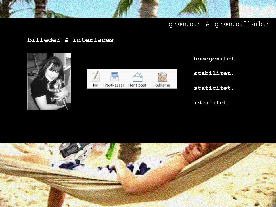 billeder & interfaces homogenitet. stabilitet. staticitet. identitet. grænser & grænseflader