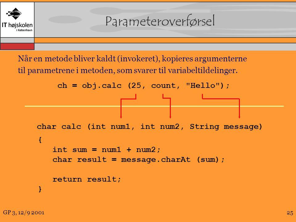 GP 3, 12/9 200125 Parameteroverførsel Når en metode bliver kaldt (invokeret), kopieres argumenterne til parametrene i metoden, som svarer til variabeltildelinger.