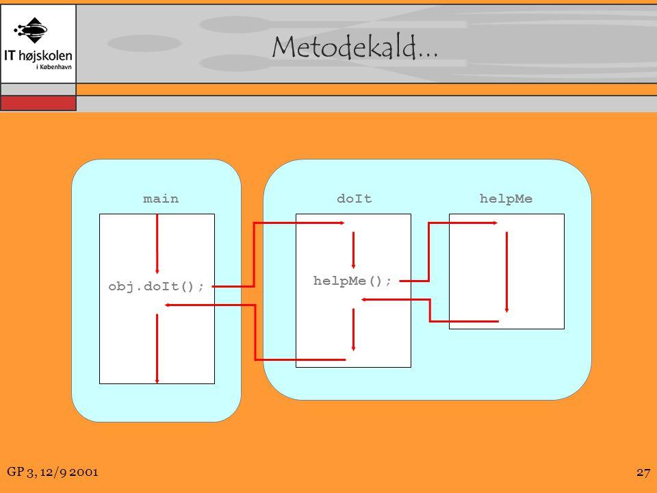 GP 3, 12/9 200127 Metodekald... doIt helpMe helpMe(); obj.doIt(); main