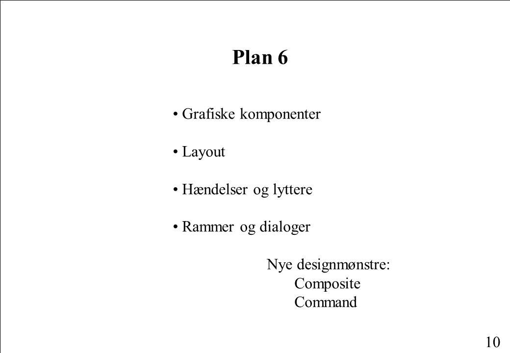 10 Plan 6 Grafiske komponenter Layout Hændelser og lyttere Rammer og dialoger Nye designmønstre: Composite Command