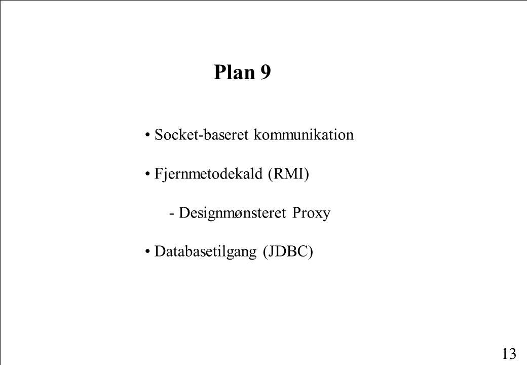 13 Plan 9 Socket-baseret kommunikation Fjernmetodekald (RMI) - Designmønsteret Proxy Databasetilgang (JDBC)