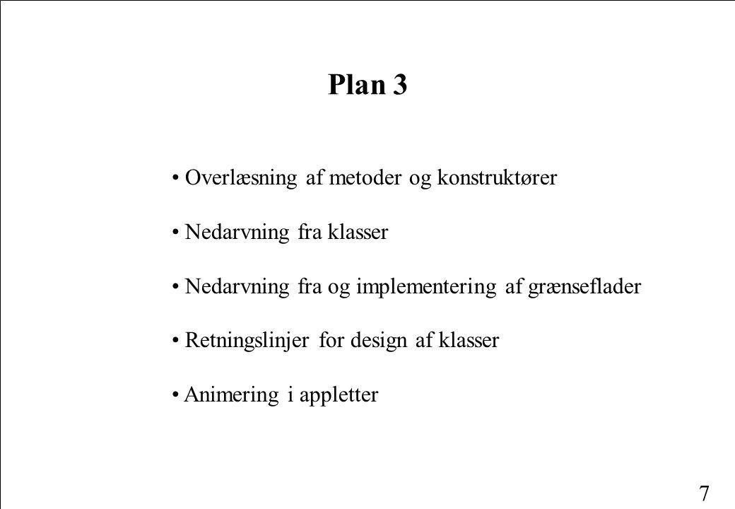 7 Plan 3 Overlæsning af metoder og konstruktører Nedarvning fra klasser Nedarvning fra og implementering af grænseflader Retningslinjer for design af klasser Animering i appletter