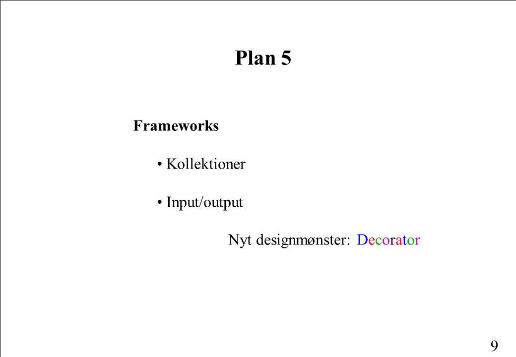 9 Plan 5 Frameworks Kollektioner Input/output Nyt designmønster: Decorator