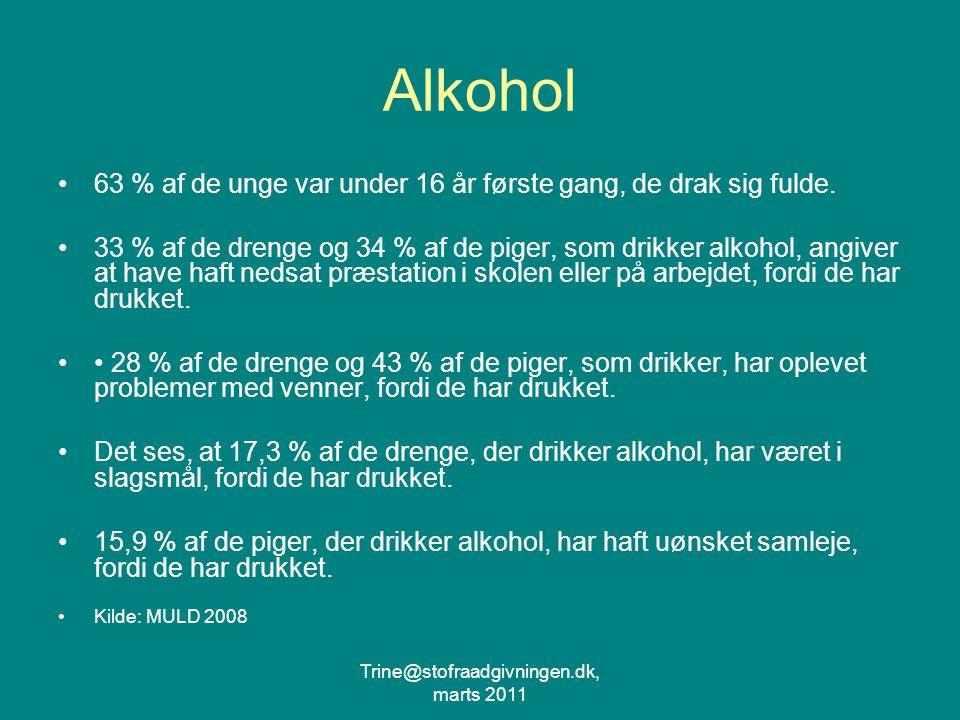 Trine@stofraadgivningen.dk, marts 2011 Alkohol 63 % af de unge var under 16 år første gang, de drak sig fulde.