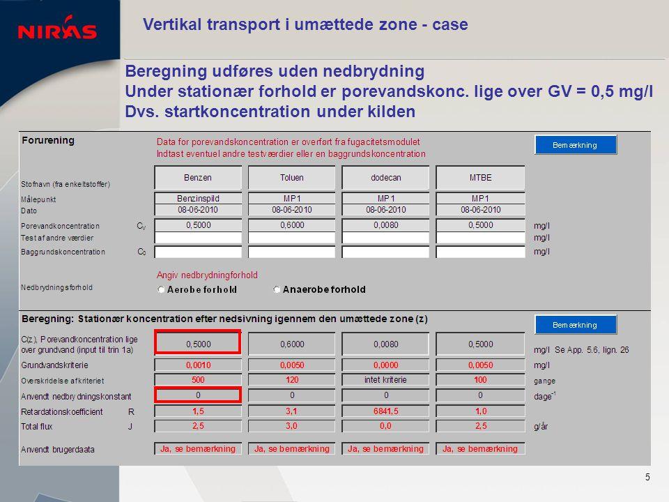 5 Vertikal transport i umættede zone - case Beregning udføres uden nedbrydning Under stationær forhold er porevandskonc.