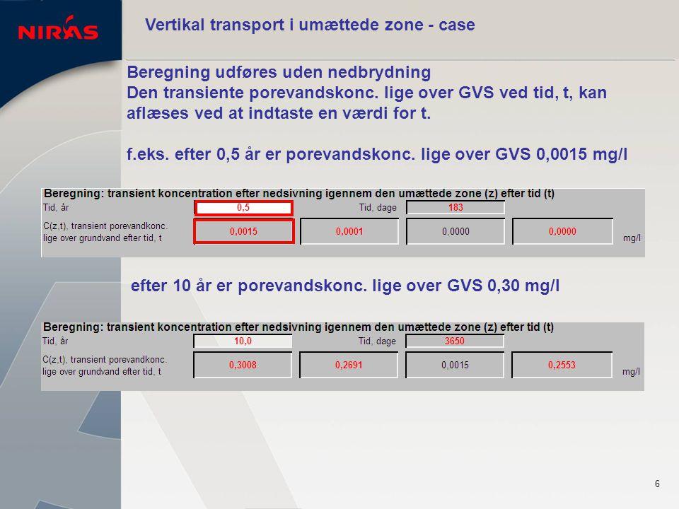 6 Vertikal transport i umættede zone - case Beregning udføres uden nedbrydning Den transiente porevandskonc.
