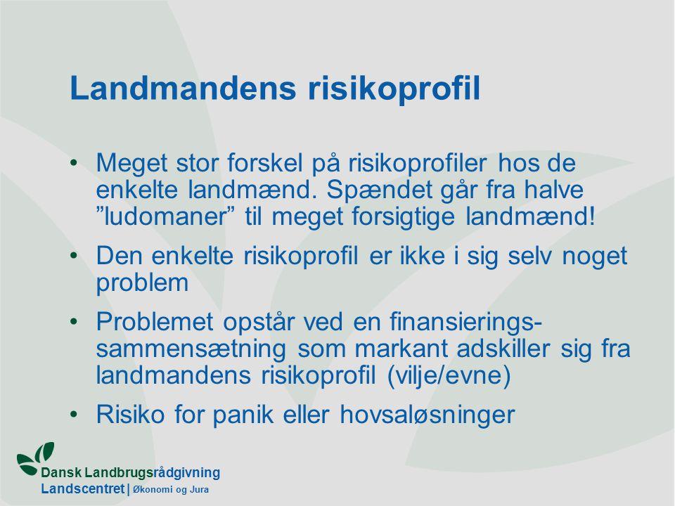 Dansk Landbrugsrådgivning Landscentret | Økonomi og Jura Landmandens risikoprofil Meget stor forskel på risikoprofiler hos de enkelte landmænd.