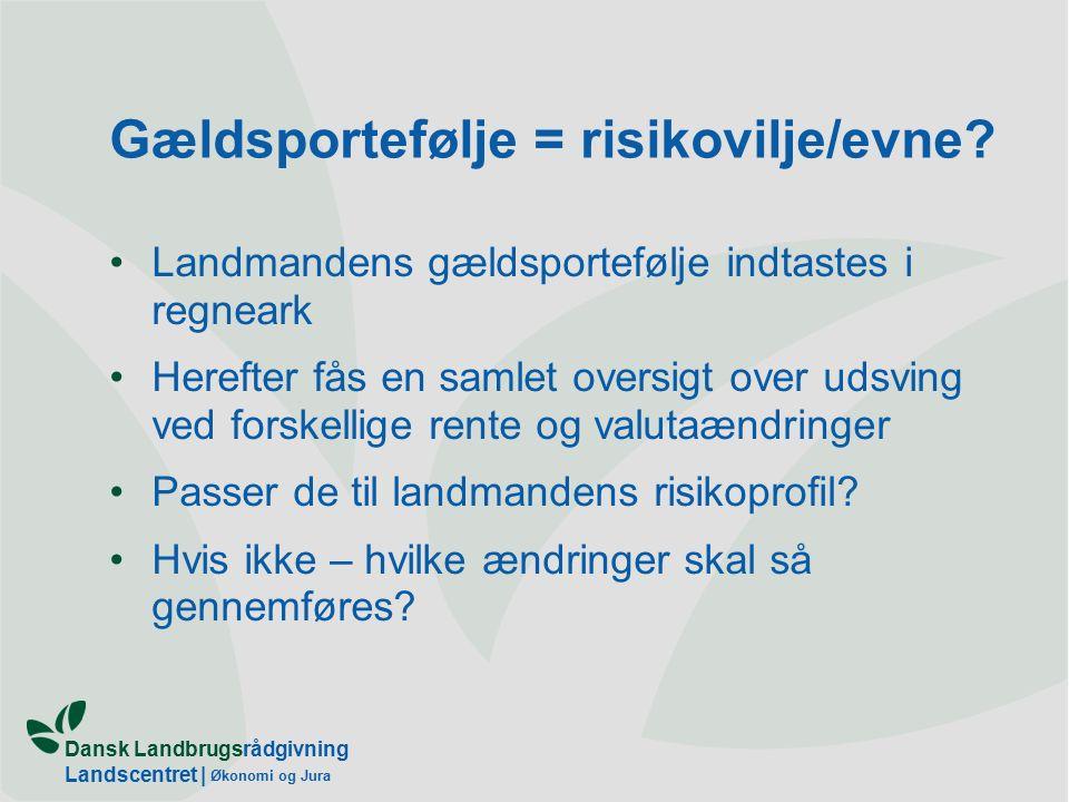Dansk Landbrugsrådgivning Landscentret | Økonomi og Jura Gældsportefølje = risikovilje/evne.