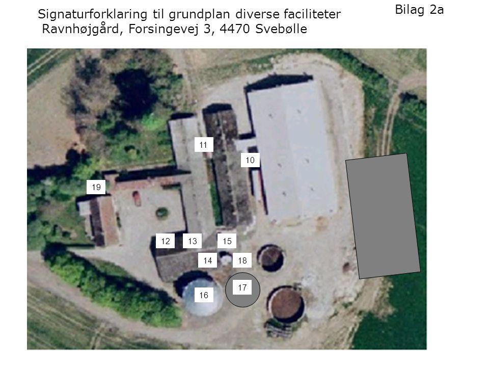 11 121315 10 14 Signaturforklaring til grundplan diverse faciliteter Ravnhøjgård, Forsingevej 3, 4470 Svebølle Bilag 2a 16 18 17 19