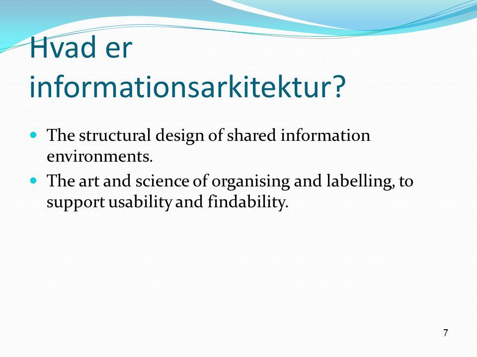 7 Hvad er informationsarkitektur. The structural design of shared information environments.