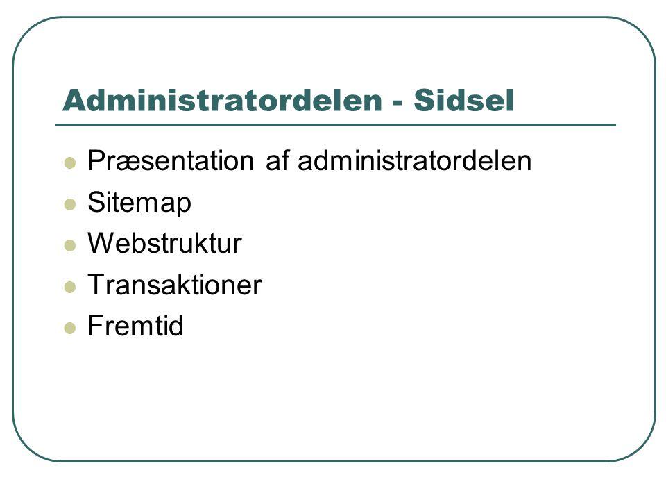 Administratordelen - Sidsel Præsentation af administratordelen Sitemap Webstruktur Transaktioner Fremtid