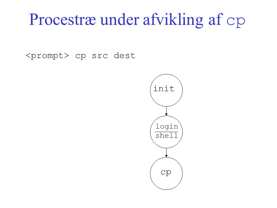 Procestræ under afvikling af cp init login shell cp cp src dest