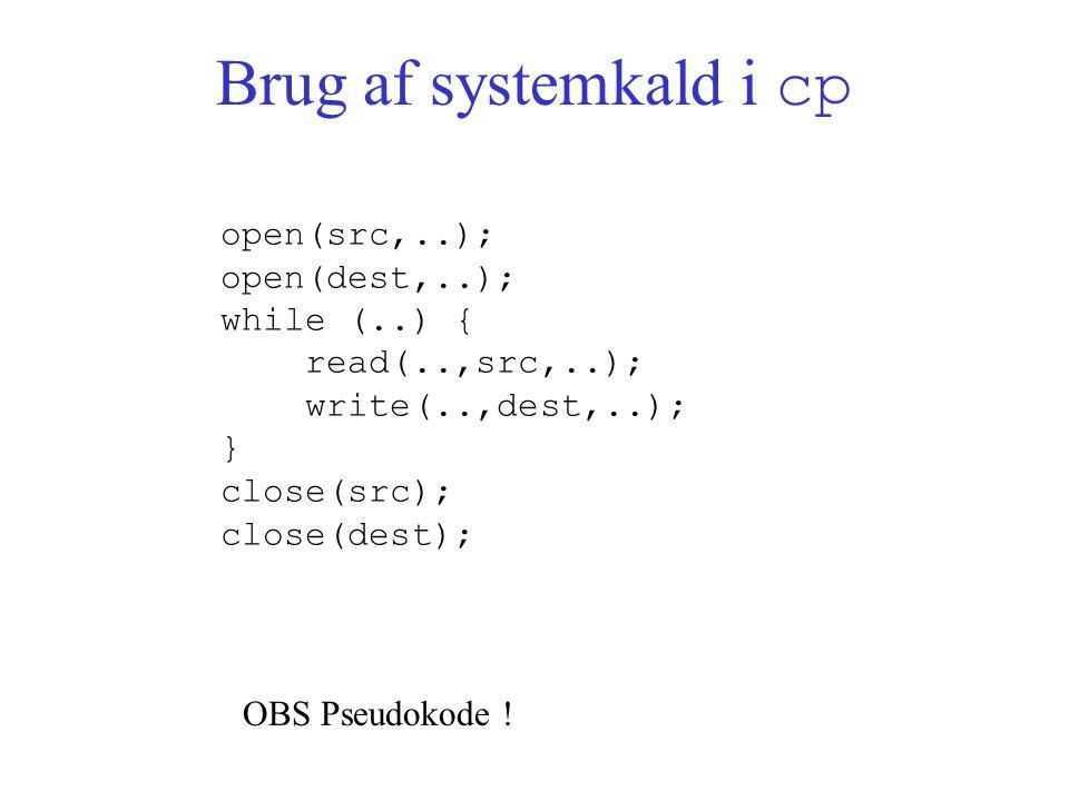 Brug af systemkald i cp open(src,..); open(dest,..); while (..) { read(..,src,..); write(..,dest,..); } close(src); close(dest); OBS Pseudokode !