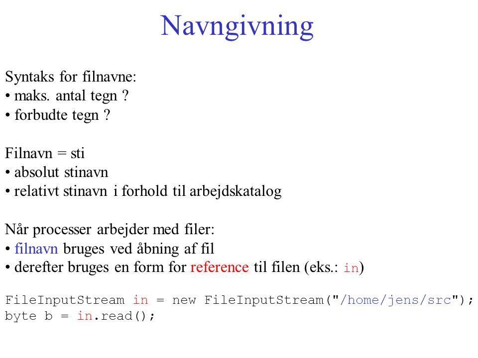 Navngivning Syntaks for filnavne: maks. antal tegn .