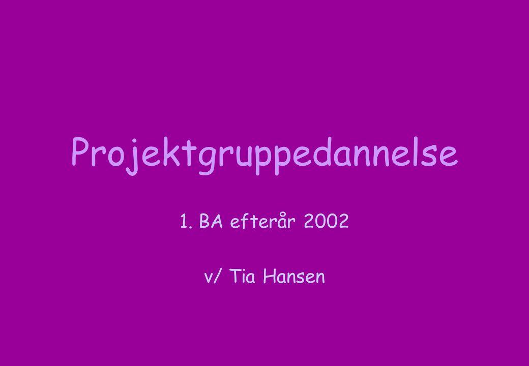 Projektgruppedannelse 1. BA efterår 2002 v/ Tia Hansen