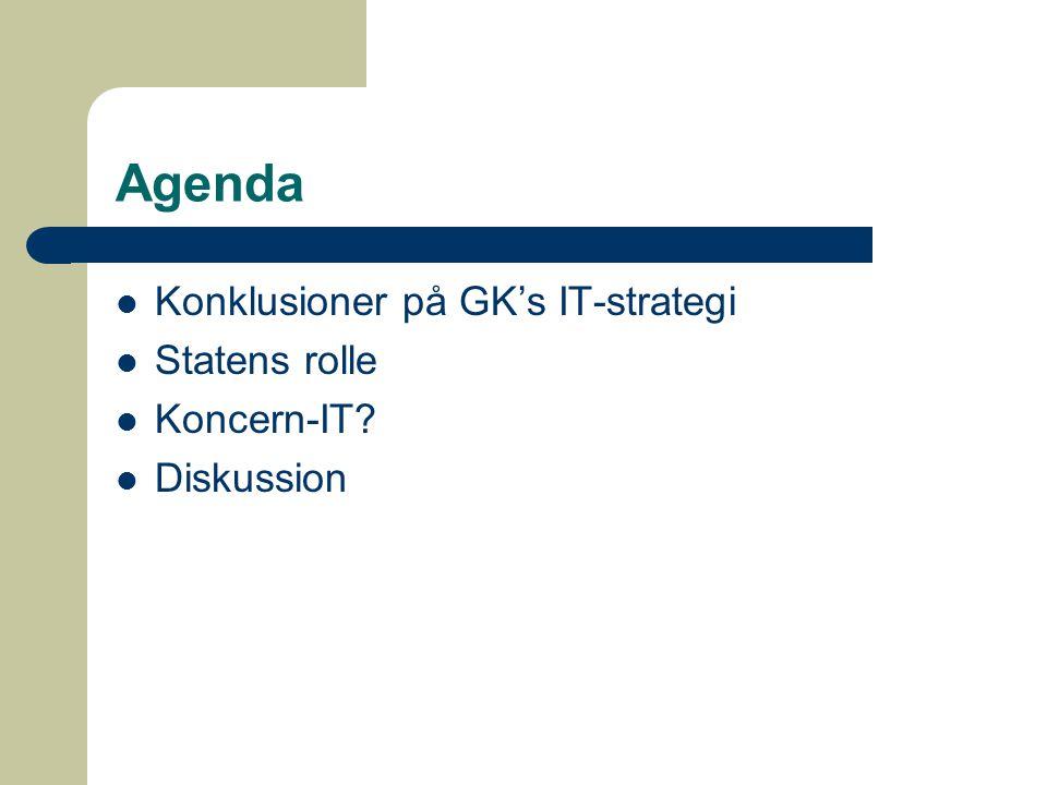 Agenda Konklusioner på GK's IT-strategi Statens rolle Koncern-IT Diskussion