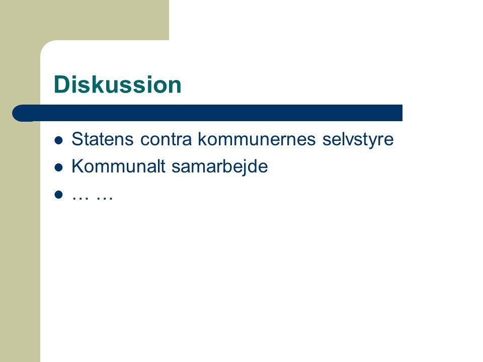 Diskussion Statens contra kommunernes selvstyre Kommunalt samarbejde … …
