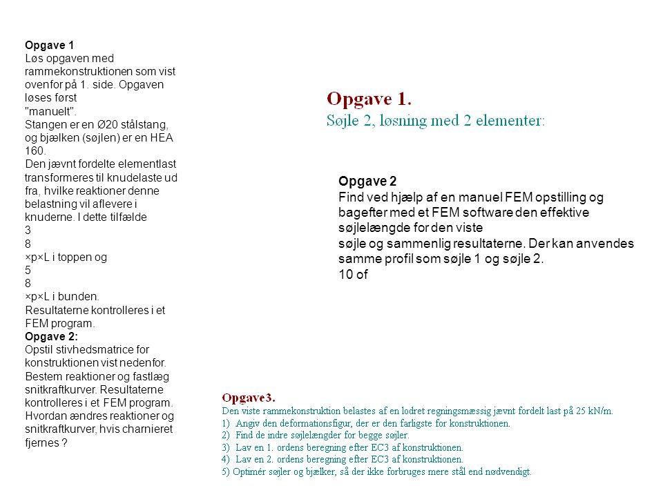 Opgave 2 Find ved hjælp af en manuel FEM opstilling og bagefter med et FEM software den effektive søjlelængde for den viste søjle og sammenlig resulta
