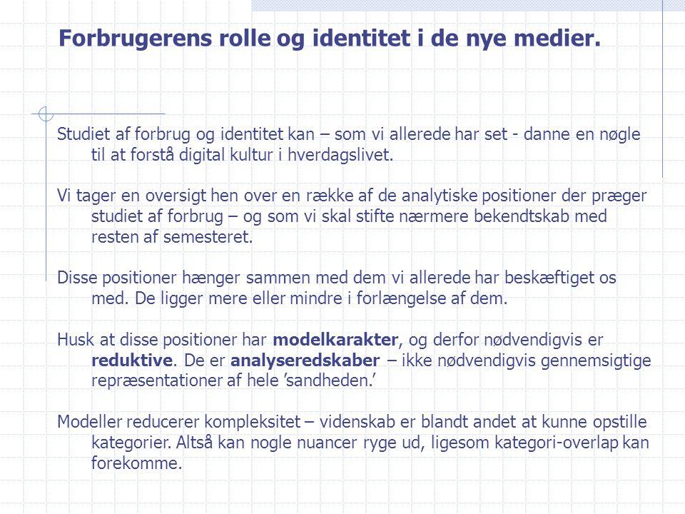 Forbrugerens rolle og identitet i de nye medier.
