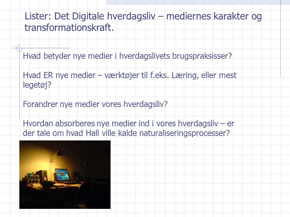 Lister: Det Digitale hverdagsliv – mediernes karakter og transformationskraft.