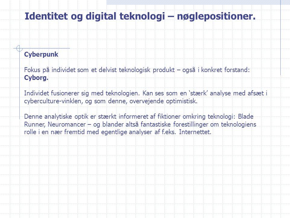 Identitet og digital teknologi – nøglepositioner.