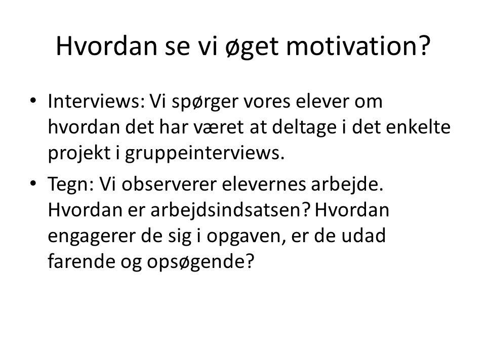 Hvordan se vi øget motivation.