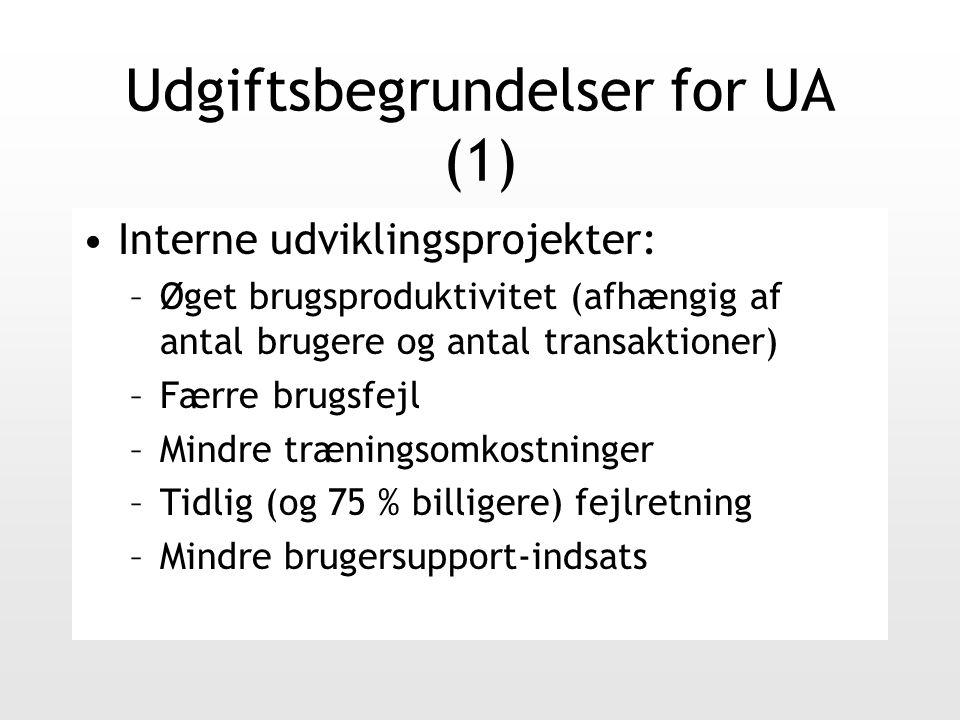 Udgiftsbegrundelser for UA (1) Interne udviklingsprojekter: –Øget brugsproduktivitet (afhængig af antal brugere og antal transaktioner) –Færre brugsfejl –Mindre træningsomkostninger –Tidlig (og 75 % billigere) fejlretning –Mindre brugersupport-indsats