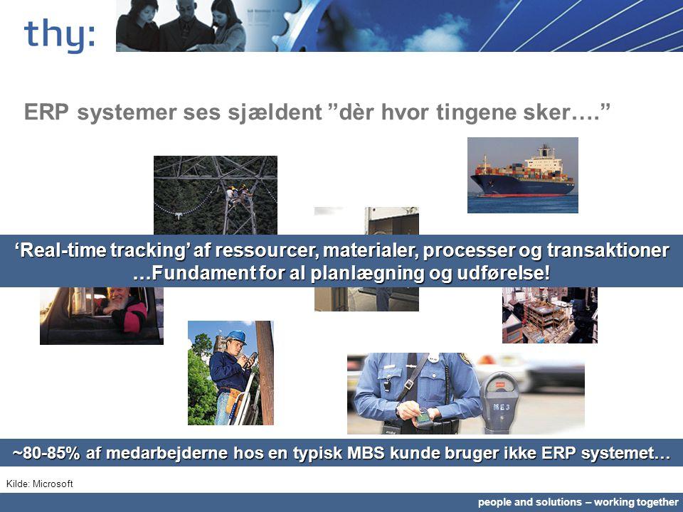 people and solutions – working together ERP systemer ses sjældent dèr hvor tingene sker…. ~80-85% af medarbejderne hos en typisk MBS kunde bruger ikke ERP systemet… 'Real-time tracking' af ressourcer, materialer, processer og transaktioner …Fundament for al planlægning og udførelse.