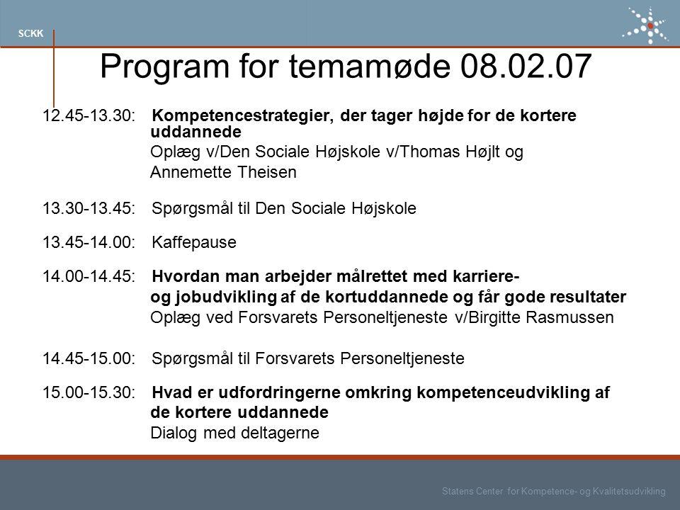 Statens Center for Kompetence- og Kvalitetsudvikling SCKK Program for temamøde 08.02.07 12.45-13.30: Kompetencestrategier, der tager højde for de kortere uddannede Oplæg v/Den Sociale Højskole v/Thomas Højlt og Annemette Theisen 13.30-13.45: Spørgsmål til Den Sociale Højskole 13.45-14.00: Kaffepause 14.00-14.45: Hvordan man arbejder målrettet med karriere- og jobudvikling af de kortuddannede og får gode resultater Oplæg ved Forsvarets Personeltjeneste v/Birgitte Rasmussen 14.45-15.00: Spørgsmål til Forsvarets Personeltjeneste 15.00-15.30: Hvad er udfordringerne omkring kompetenceudvikling af de kortere uddannede Dialog med deltagerne