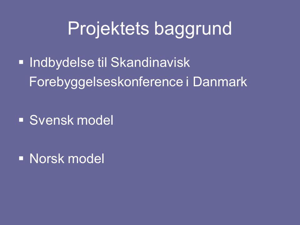 Projektets baggrund  Indbydelse til Skandinavisk Forebyggelseskonference i Danmark  Svensk model  Norsk model